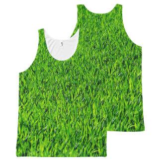 Green Summer Grass Texture All-Over-Print Tank Top