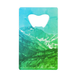 Green Summer Mountains Bottle Opener Credit Card Bottle Opener