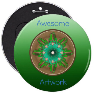 Green Sun 6 Inch Round Button