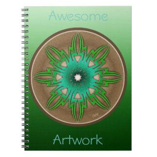 Green Sun Spiral Note Book
