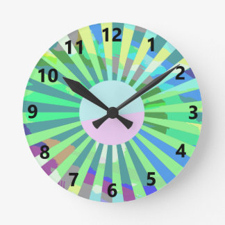 Green Sunburst Wall Clock