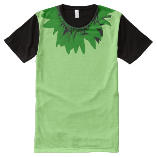 Green Sunflower Accent Collar on Green Black All-Over-Print T-Shirt