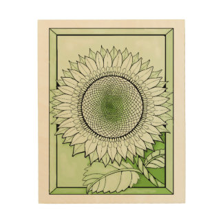 Green Sunflower Wood Print