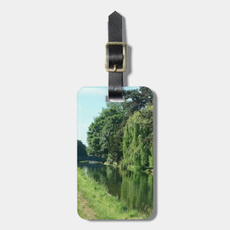Green sunny spring day green trees bag label luggage tag