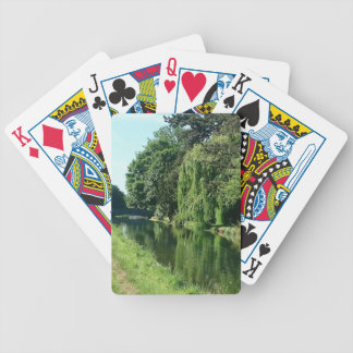 Green sunny spring day green trees river walk bicycle playing cards