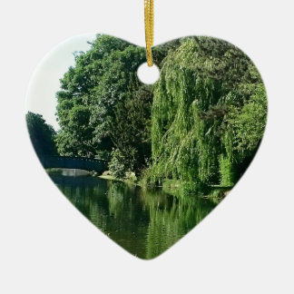 Green sunny spring day green trees river walk ceramic heart ornament