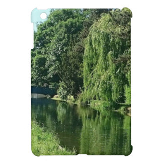Green sunny spring day green trees river walk iPad mini cover
