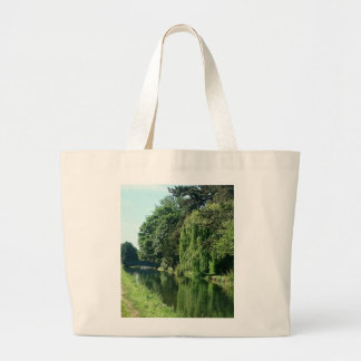 Green sunny spring day green trees river walk large tote bag