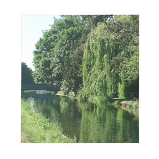 Green sunny spring day green trees river walk notepad