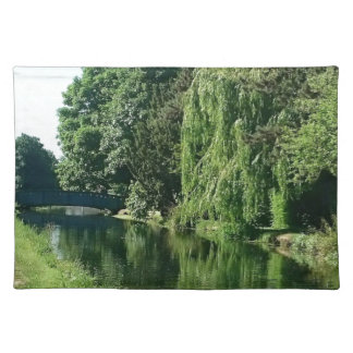 Green sunny spring day green trees river walk placemat