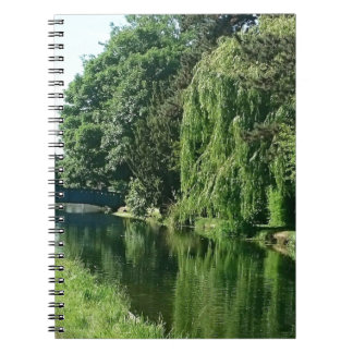 Green sunny spring day green trees river walk spiral notebook