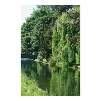 Green sunny spring day green trees river walk stationery paper