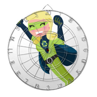 Green superhero girl dartboard