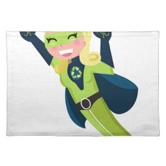 Green superhero girl placemat