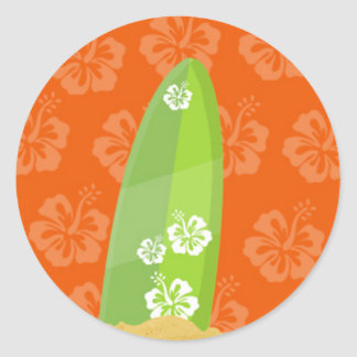 Green Surf Board on Orange Ibiscus Background Classic Round Sticker