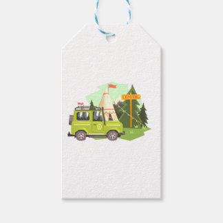 Green suv Parked Nest To The Camp Site. Cool Color Gift Tags