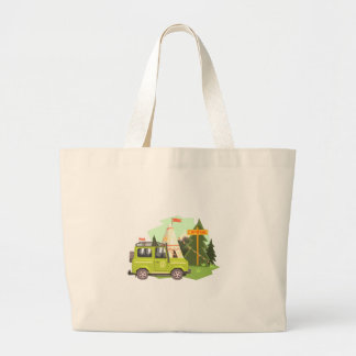 Green suv Parked Nest To The Camp Site. Cool Color Large Tote Bag