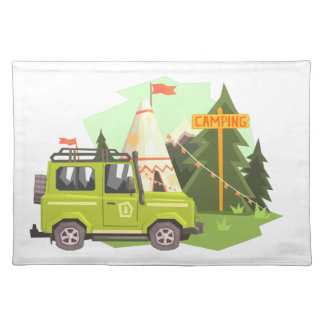 Green suv Parked Nest To The Camp Site. Cool Color Placemat