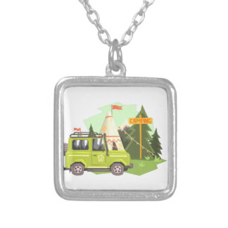 Green suv Parked Nest To The Camp Site. Cool Color Silver Plated Necklace