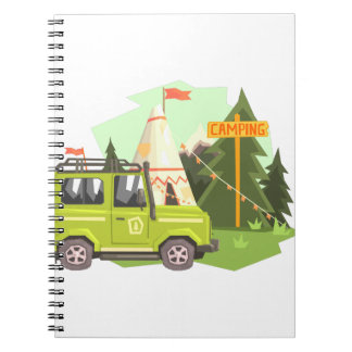 Green suv Parked Nest To The Camp Site. Cool Color Spiral Notebook