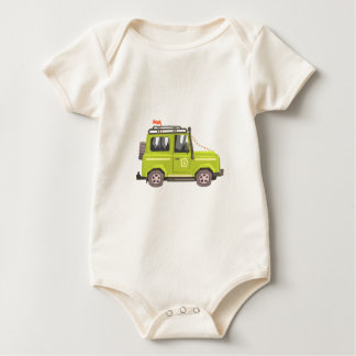 Green suv Safari Car. Cool Colorful Vector Illustr Baby Bodysuit