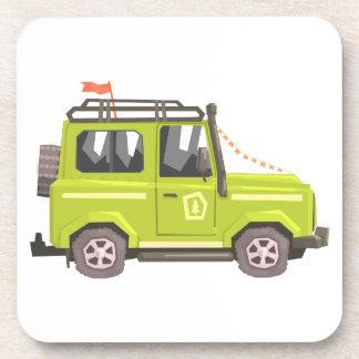 Green suv Safari Car. Cool Colorful Vector Illustr Coaster