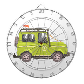 Green suv Safari Car. Cool Colorful Vector Illustr Dartboard