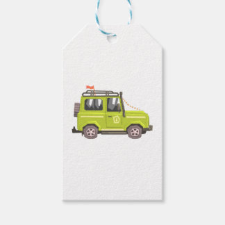 Green suv Safari Car. Cool Colorful Vector Illustr Gift Tags