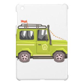Green suv Safari Car. Cool Colorful Vector Illustr iPad Mini Covers