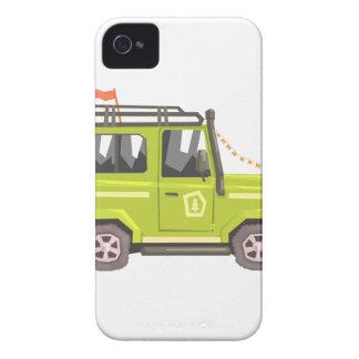 Green suv Safari Car. Cool Colorful Vector Illustr iPhone 4 Case