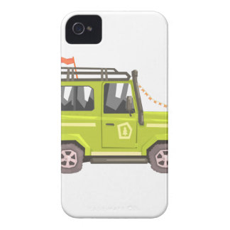 Green suv Safari Car. Cool Colorful Vector Illustr iPhone 4 Cases