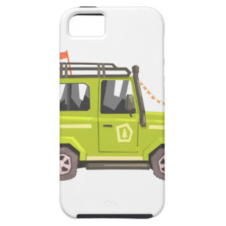 Green suv Safari Car. Cool Colorful Vector Illustr iPhone 5 Cases