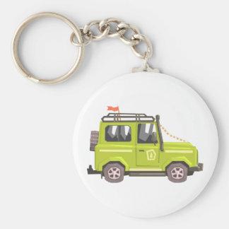 Green suv Safari Car. Cool Colorful Vector Illustr Keychain