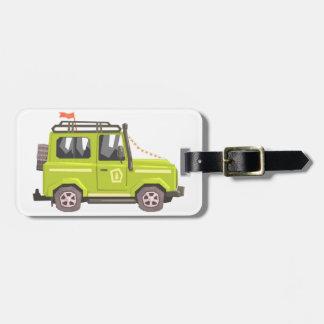 Green suv Safari Car. Cool Colorful Vector Illustr Luggage Tag