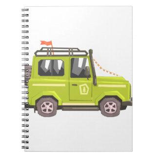 Green suv Safari Car. Cool Colorful Vector Illustr Notebook