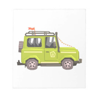 Green suv Safari Car. Cool Colorful Vector Illustr Notepad