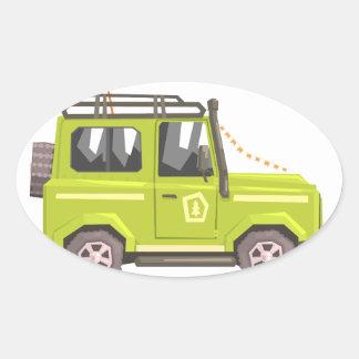 Green suv Safari Car. Cool Colorful Vector Illustr Oval Sticker