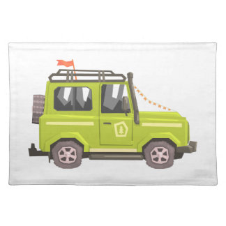 Green suv Safari Car. Cool Colorful Vector Illustr Placemat