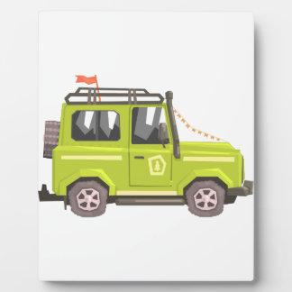 Green suv Safari Car. Cool Colorful Vector Illustr Plaque
