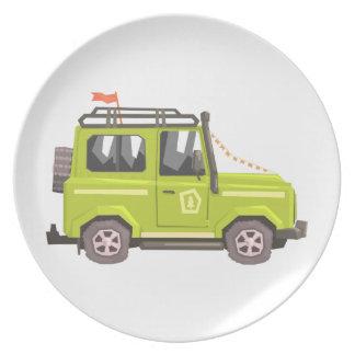 Green suv Safari Car. Cool Colorful Vector Illustr Plate