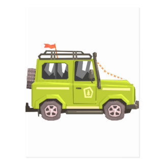 Green suv Safari Car. Cool Colorful Vector Illustr Postcard