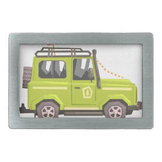 Green suv Safari Car. Cool Colorful Vector Illustr Rectangular Belt Buckle