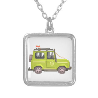 Green suv Safari Car. Cool Colorful Vector Illustr Silver Plated Necklace