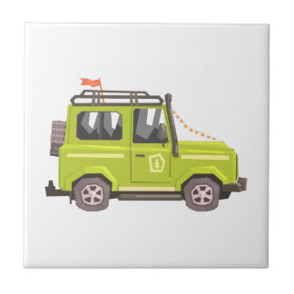 Green suv Safari Car. Cool Colorful Vector Illustr Tile
