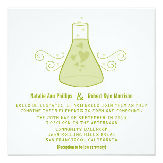 Green Sweet Chemistry Wedding Invite