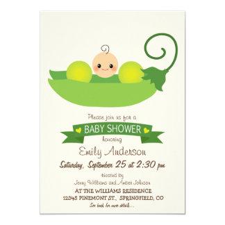 "Green Sweet Pea Baby Shower 5"" X 7"" Invitation Card"