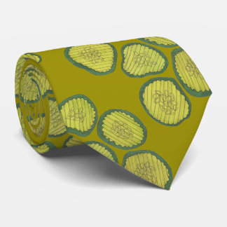 Green Sweet Pickle Chips Pickles Pattern Dill Food Tie