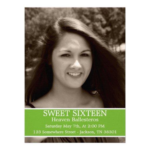 "Green Sweet Sixteen Birthday Invites 6.5"" x 8.7"