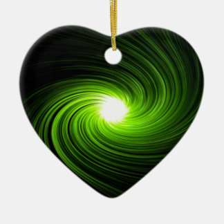 Green swirl abstract. ceramic heart ornament