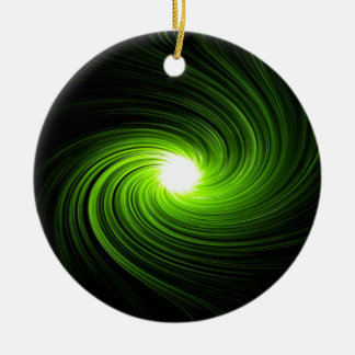 Green swirl abstract. ceramic ornament